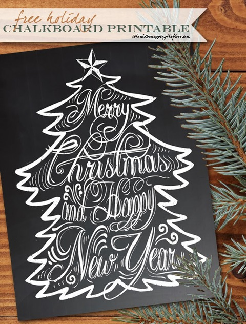 Chalkboard Merry Christmas and Happy New Year sign