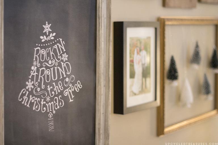 Chalkboard Rockin around the Christmas tree sign