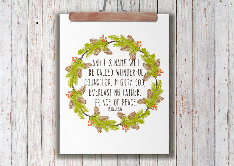Christmas wreath sign with scripture
