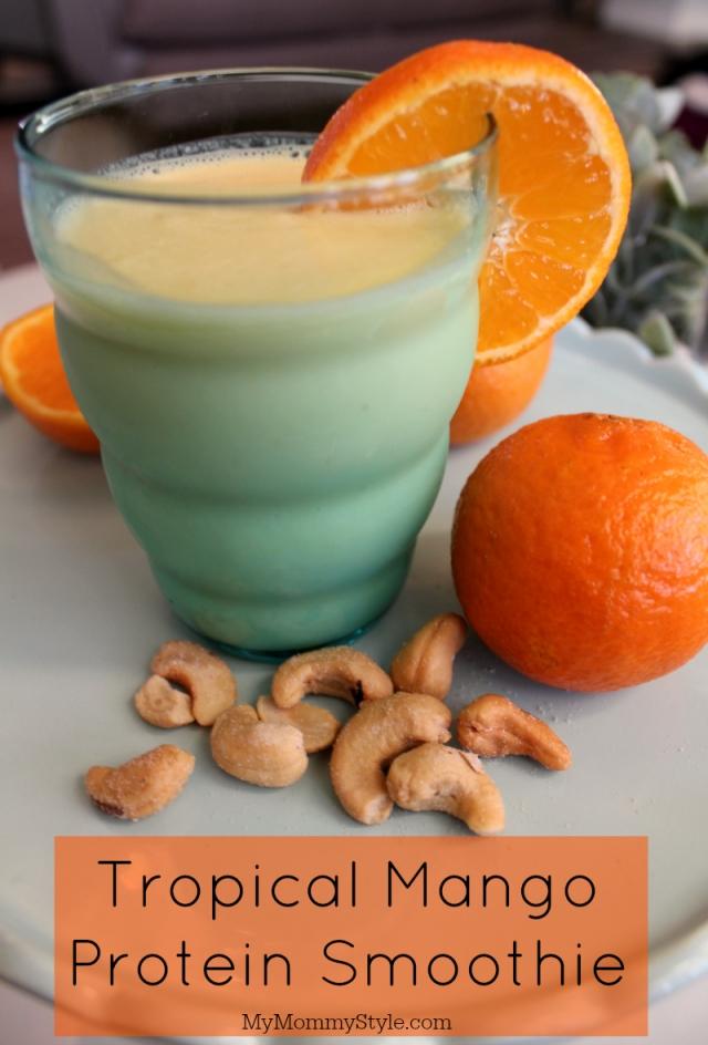 mango smoothie, simple truth vapor water, tropical mango protein smoothie