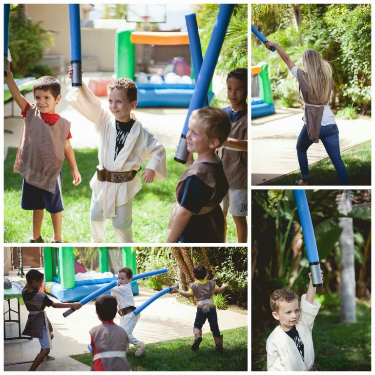 Kids playing with Star Wars pool noodle light sabers.