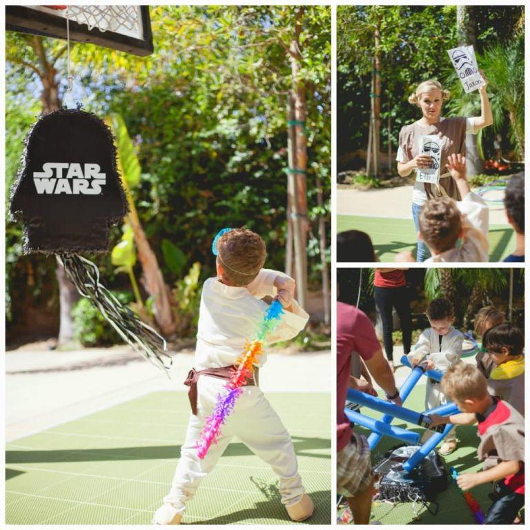 Kids hitting at the Star Wars Party Piñata