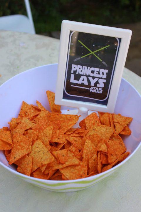 """Bowl of Star Wars """"Princess Lays"""" chips."""