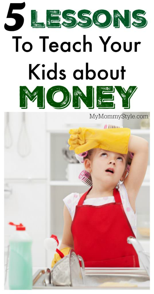Help your kids money responsibility with these 5 Lessons to Teach Your Kids About Money. Teach them learn to save, give and spend wisely.