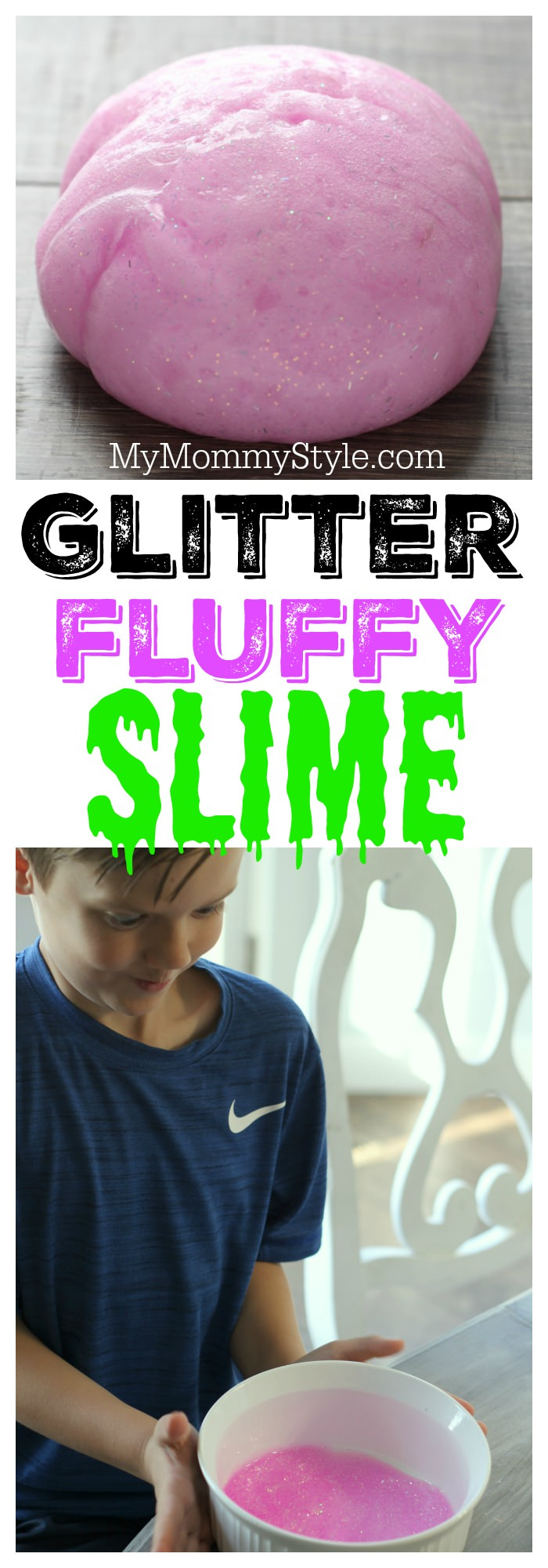 Creating this Fluffy Slime with Glitter is just as fun as playing with it. Keep your kids busy for hours with this easy five step recipe. via @mymommystyle