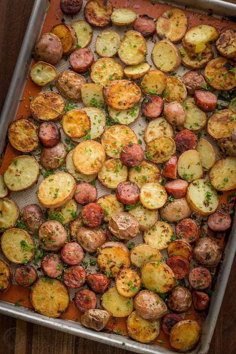 roasted potatoes and kielbasa