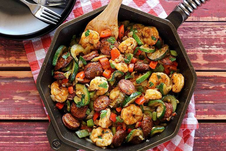 shrimp and kielbasa skillet.