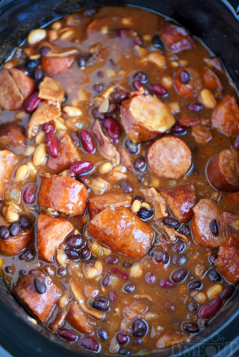 kielbasa and bbq beans