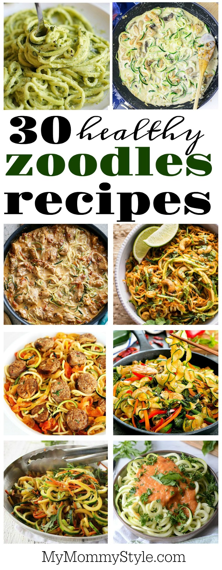 30 Healthy zoodles recipes collage