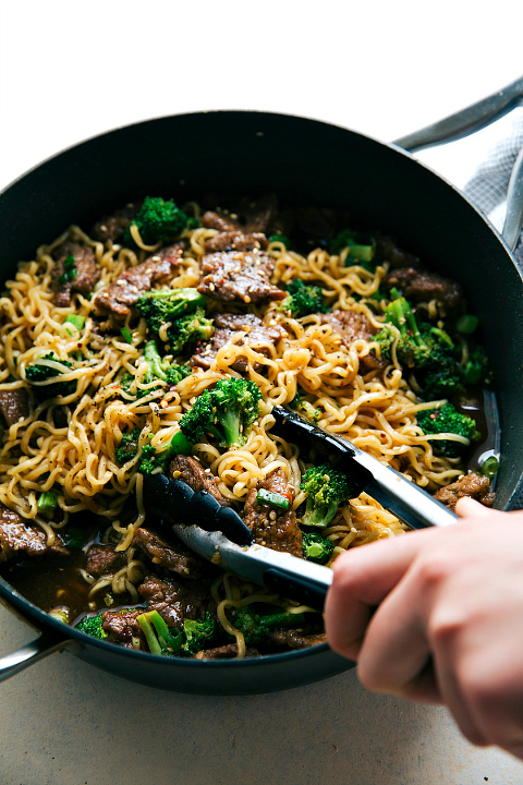 Idea for Picky Eater meals. Beef and broccoli over ramen noodles