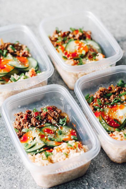 healthy ground turkey meal prep bowls