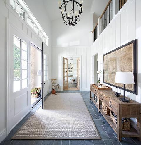 Long entrance Hallway with long entry table.