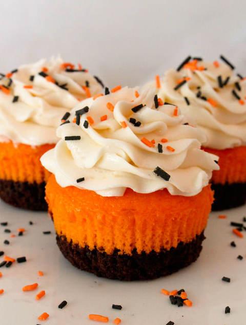 Candy corn brownie cupcakes