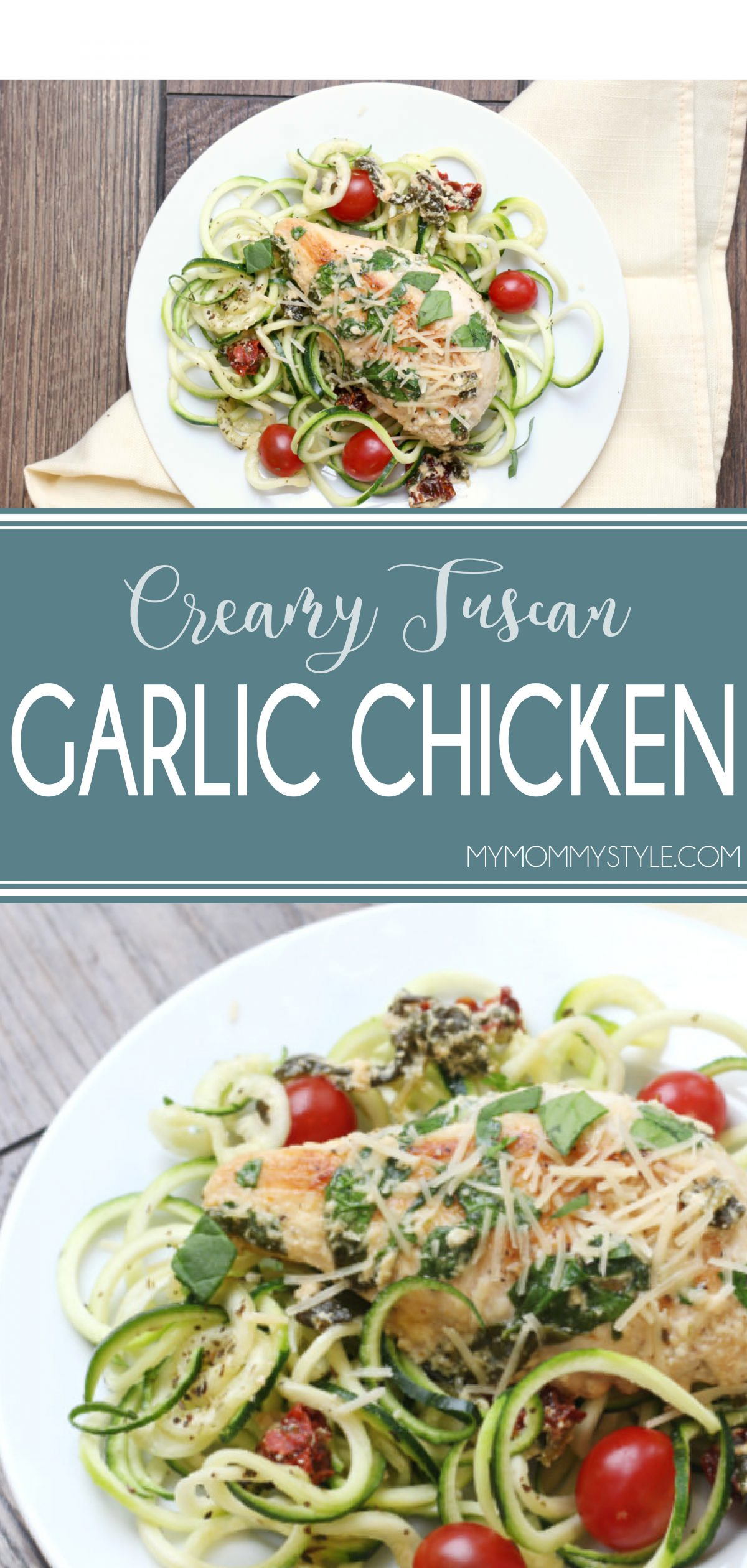 This creamy garlic chicken is one of our favorite lean and green recipes! It's colorful and packed full of flavor without the guilt! via @mymommystyle