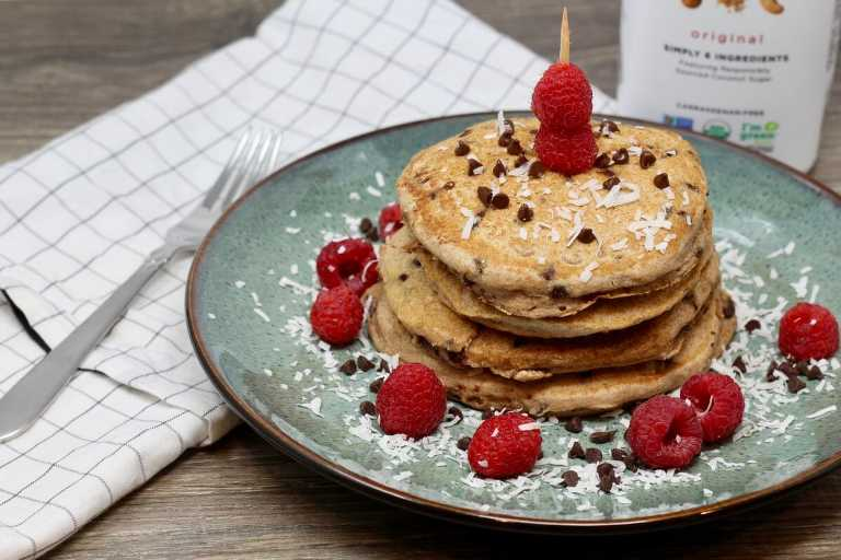 Dairy Free Whole Wheat Chocolate Raspberry Pancakes, dairy free pancakes, dairy free recipe, dairy free