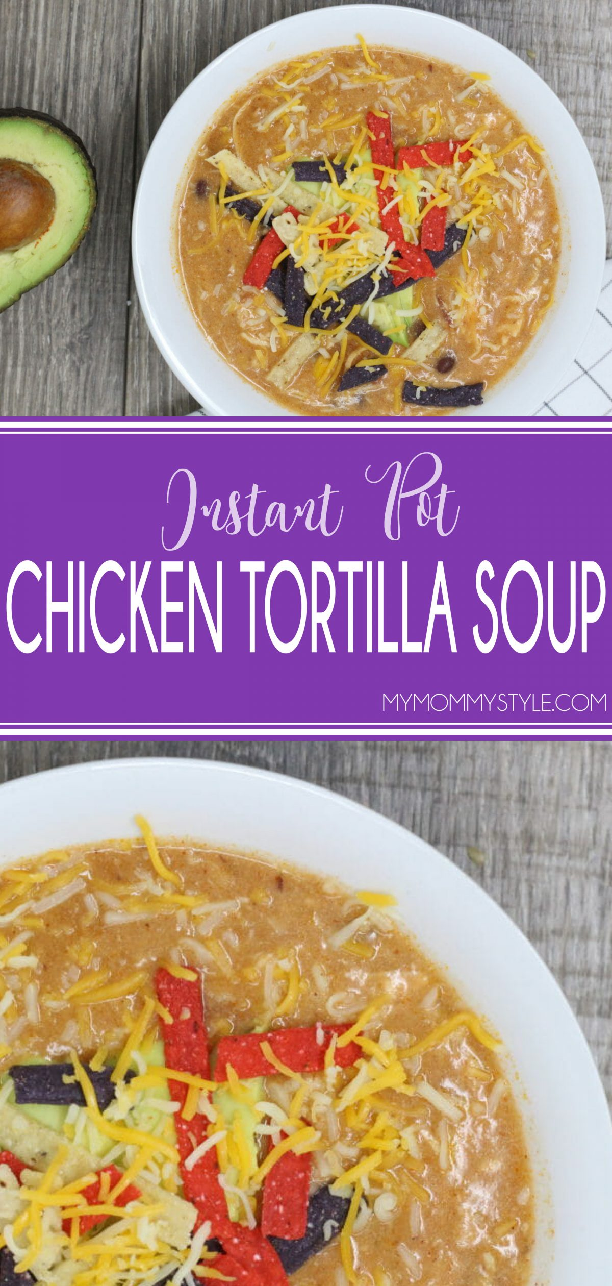 This Instant Pot chicken tortilla soup is so flavorful, and can be made from frozen chicken breasts in under 30 minutes! Cooking soup in the Instant Pot is a hidden secret via @mymommystyle