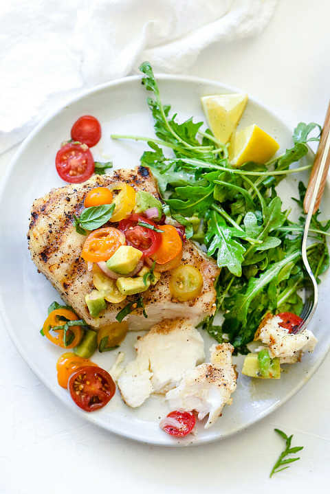 Grilled Halibut with Tomato and Avocado Salsa