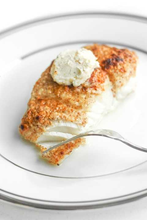 Almond Crusted Halibut with Lemon Garlic Butter