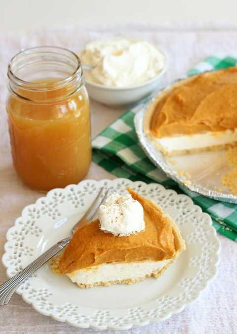 double layer no bake pumpkin cheesecake.