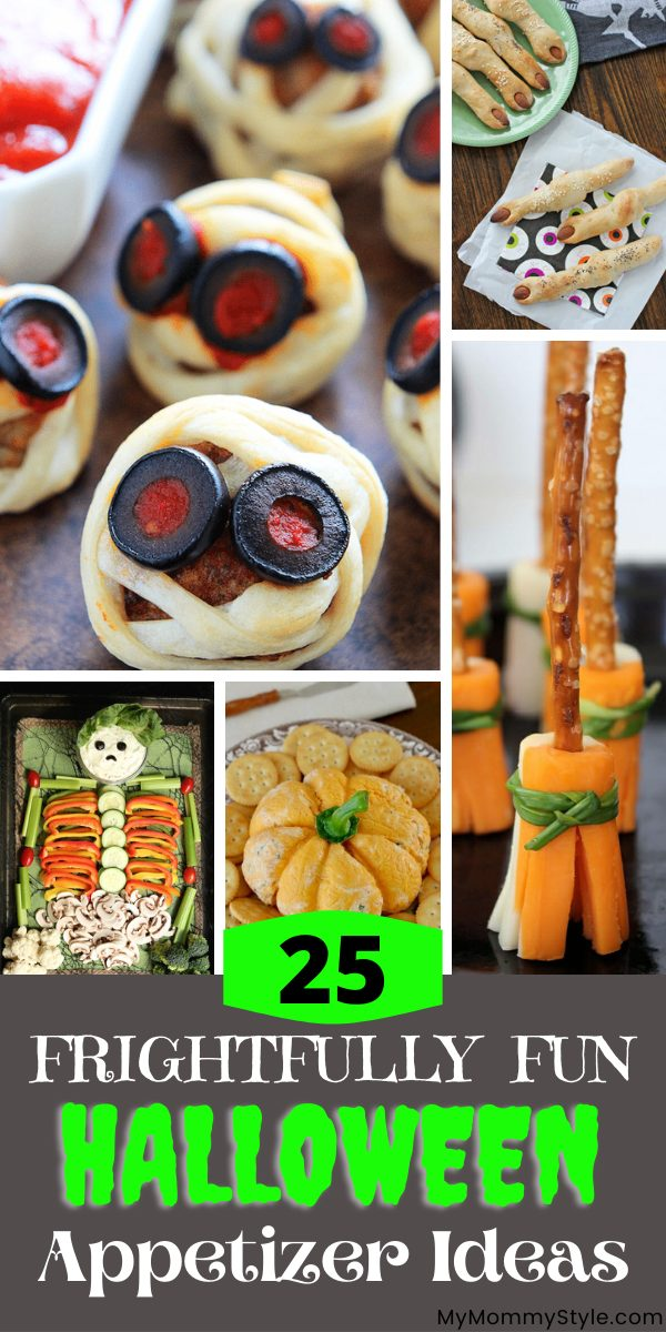 A roundup of the cutest, spookiest and tastiest Halloween appetizer ideas. Delight your guests at your next Halloween party! #Halloweenappetizerideas #Halloweenappetizer via @mymommystyle