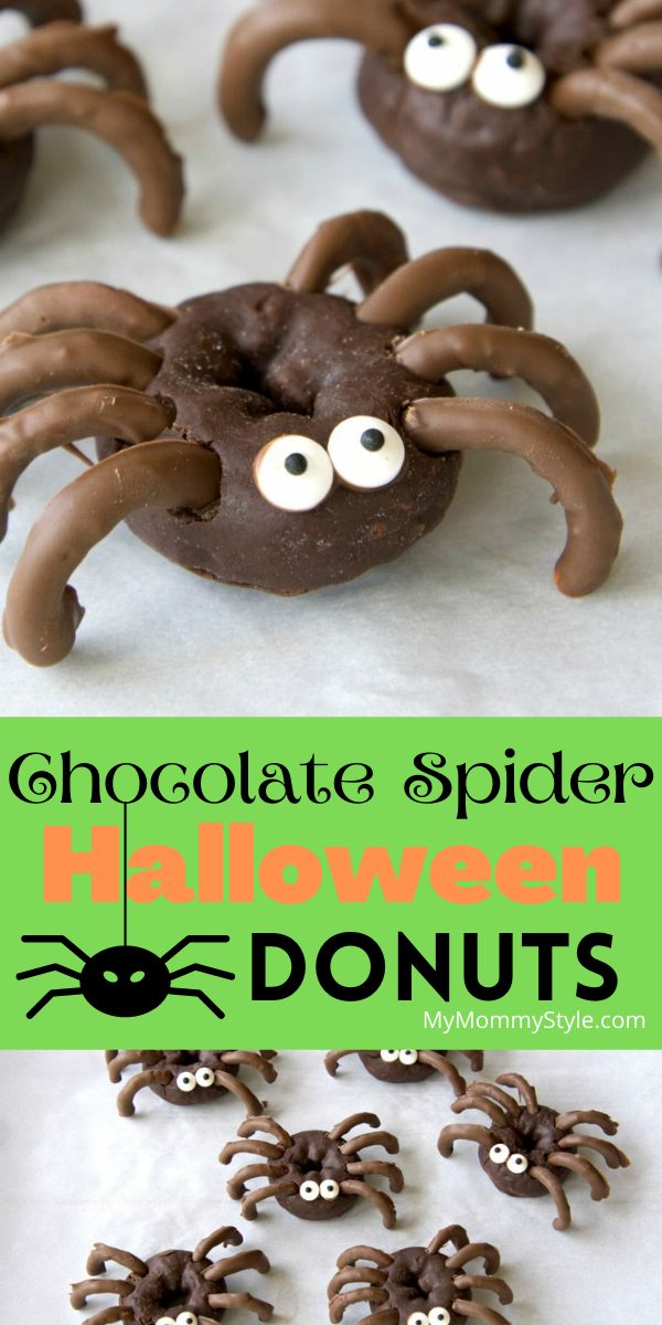 These chocolate spider Halloween donuts are an easy no-bake treat made with only four ingredients! Perfect for your next Halloween party! #halloweendonuts #spiderdonuts  via @mymommystyle