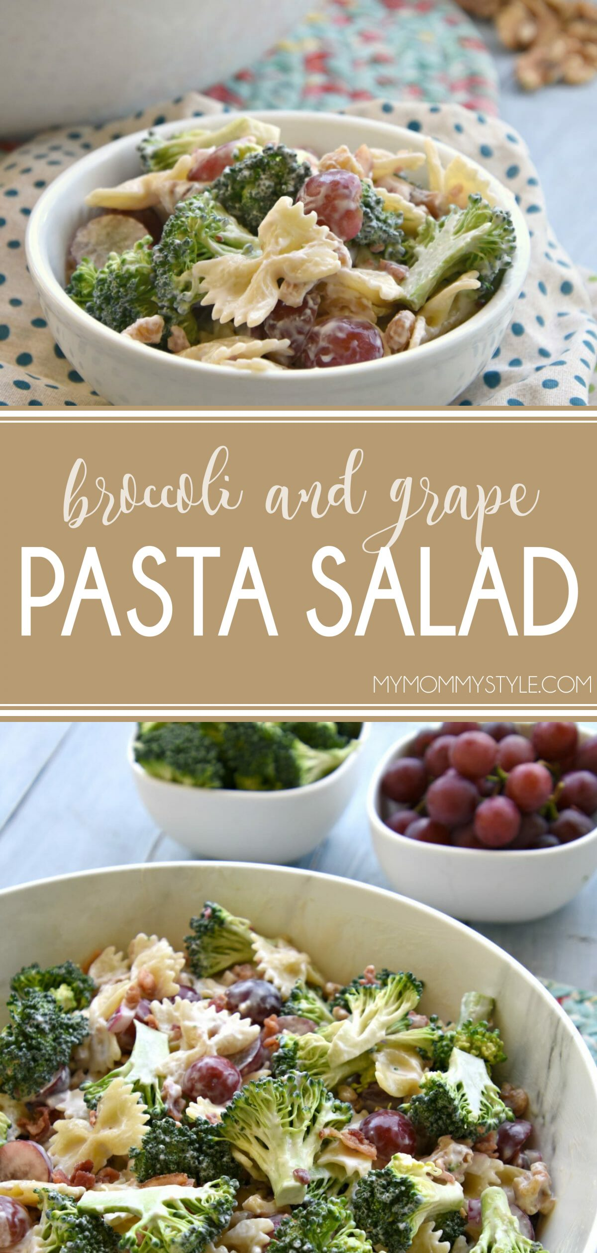 Broccoli and grape pasta salad is a sweet and tangy and delicious pasta salad that is perfect for any BBQ or pot luck. via @mymommystyle