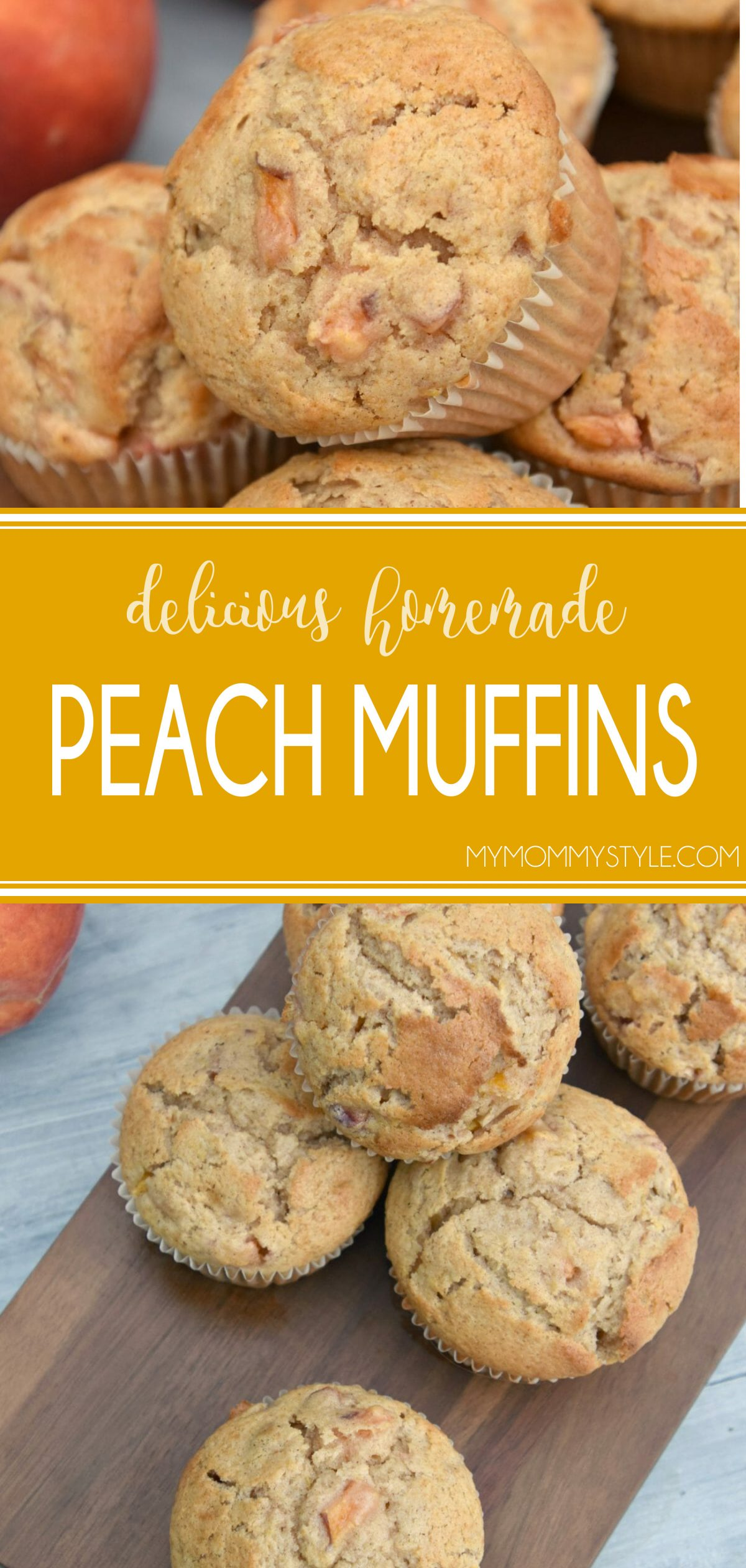 These peach muffins are perfectly soft and moist and bursting with flavor. Made with fresh peaches or nectarines and a splash of vanilla and spices. These are perfection! via @mymommystyle