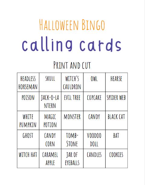 Halloween Bingo calling cards