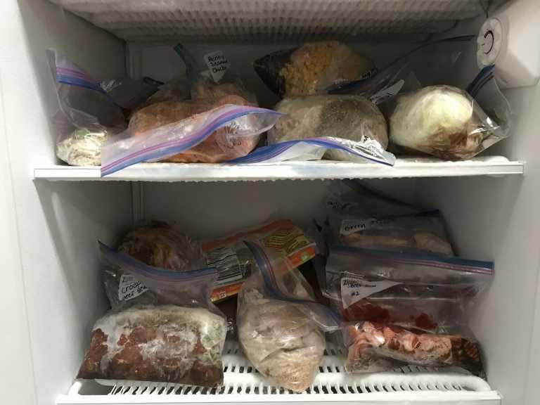 Freezer with freezer meals