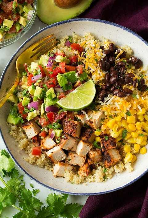 Bowl of grilled chicken, corn, black beans, pico, avocado, red onions, cheese and lime over quinoa.