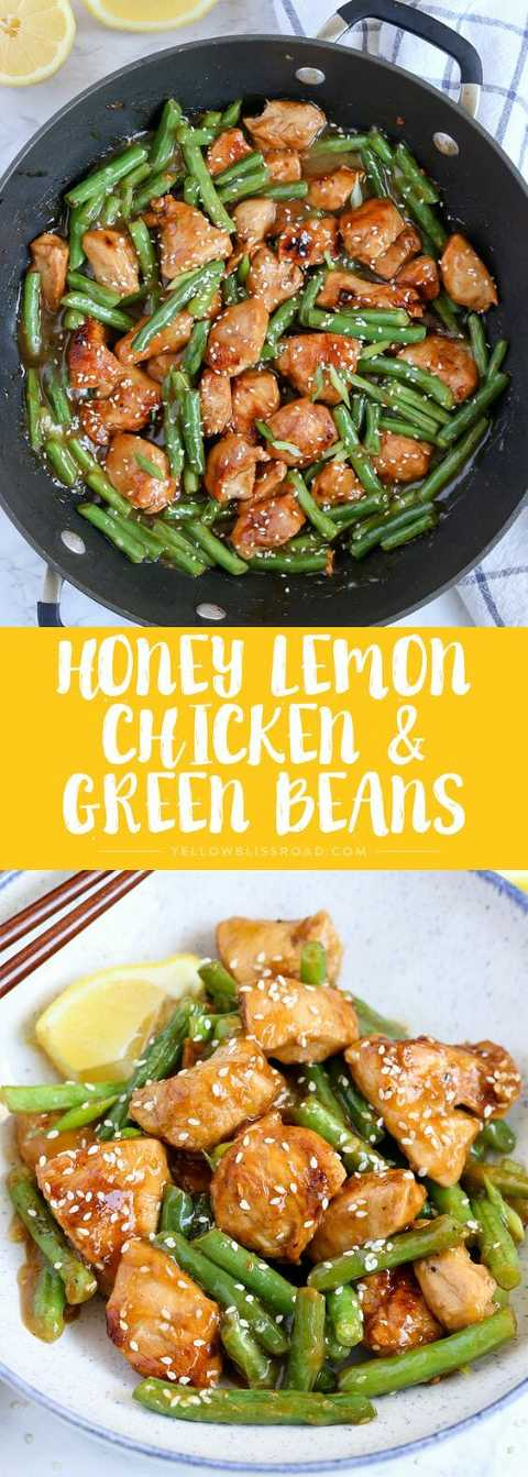 Stir Fry honey lemon chicken with green beans in a skillet and on a plate.