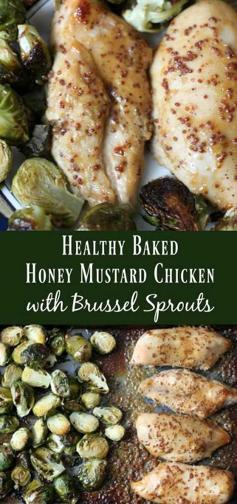 Healthy baked honey mustard chicken breasts with brussels sprouts.