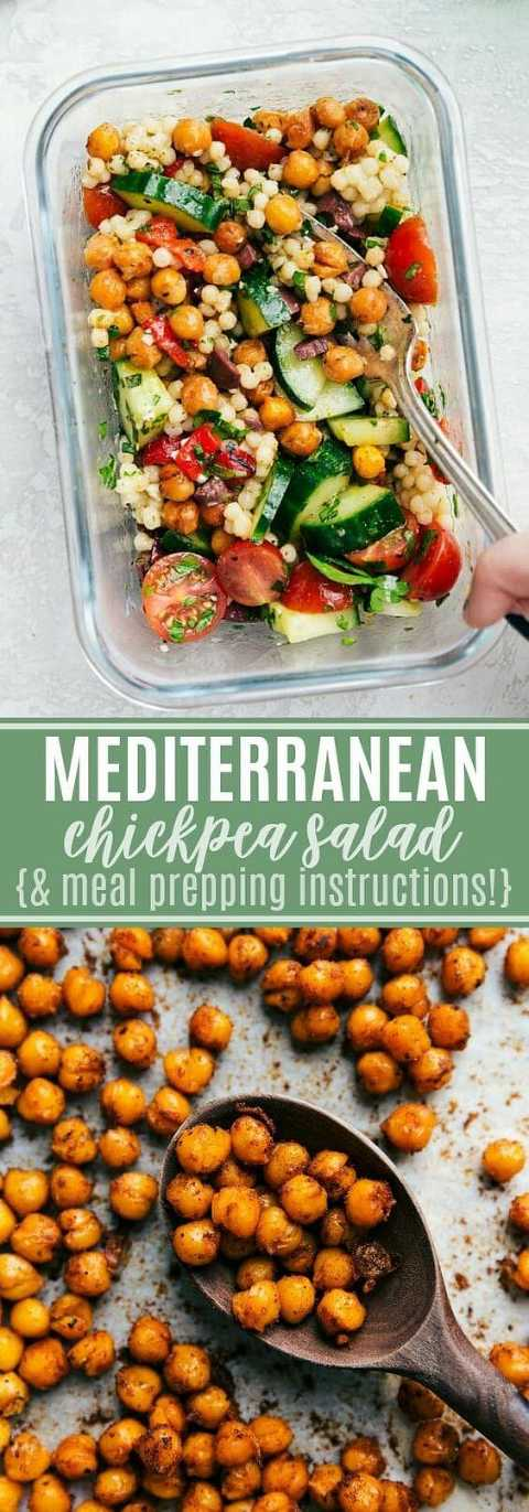 A low calorie meal prep bowl with Mediterranean chickpea salad and pan of roasted chickpeas.