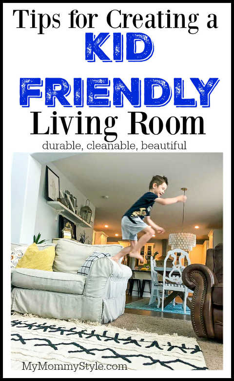 child jumping off couch in a living room. Helping you to find furniture that is durable and washable for a kid friendly room.
