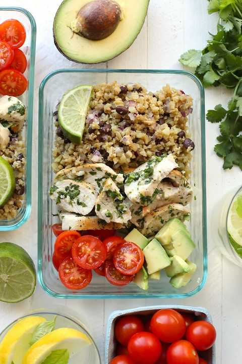 Keto Cilantro Lime Chicken with Cauliflower Rice Meal Prep Idea