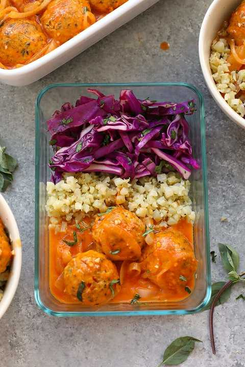 Keto Red Coconut Curry Meatballs on Cauliflower Rice Meal Prep