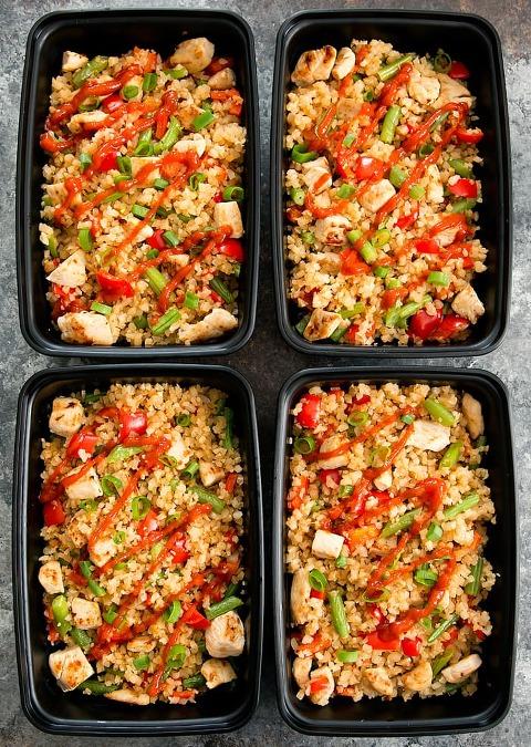 Sriracha Cauliflower Fried Rice Meal Prep