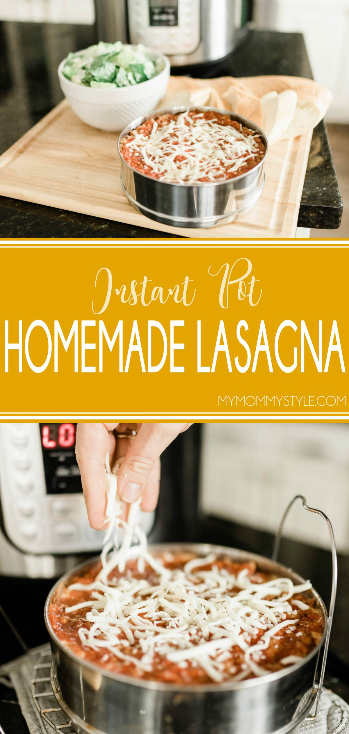 Lasagna can easily become a weeknight meal with this Instant Pot Lasagna recipe! All the comfort of a cheesy, delicious lasagna without all the stress and time of a traditional lasagna recipe! This instant pot recipe is done in under a half an hour! via @mymommystyle