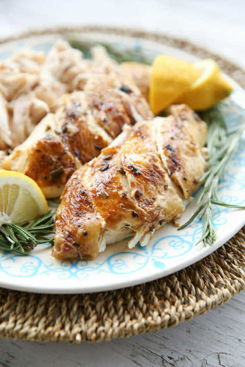 Instant Pot Roasted Chicken with Lemon & Rosemary