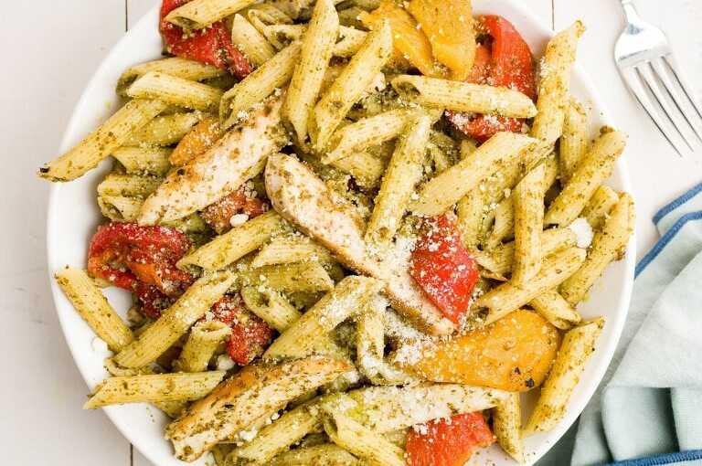 Pasta made with trader joes fresh pesto