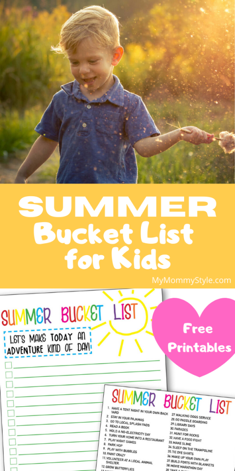 Child playing in afternoon sun and summer bucket list page