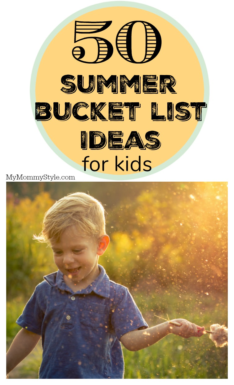 "Make ""I'm bored"" a thing of the past! Print and share this summer bucket list for kids complete with 50 ideas to have endless amounts of fun this summer. via @mymommystyle"