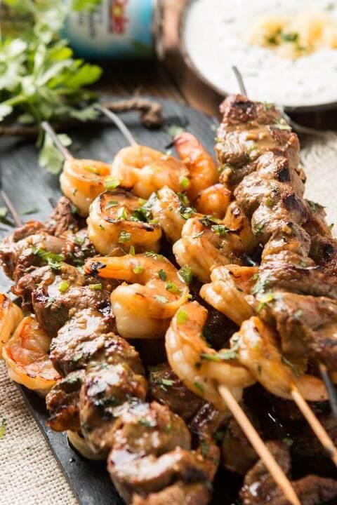 Spicy steak and shrimp kabobs