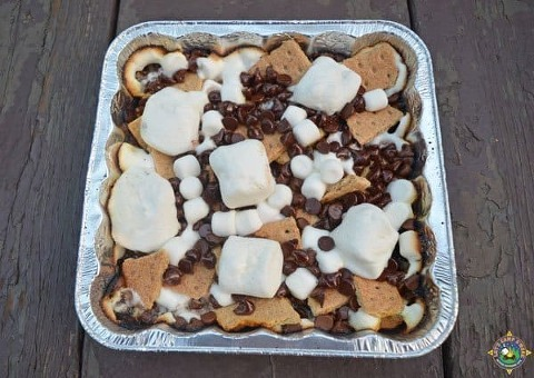s'mores nachos cooked over the campfire