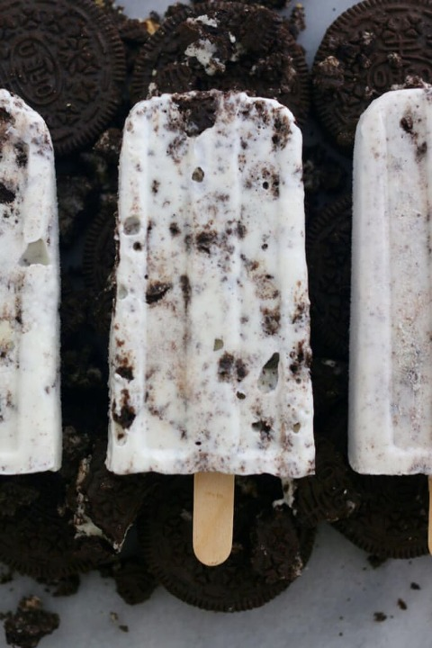 Homemade cookies and cream popsicle