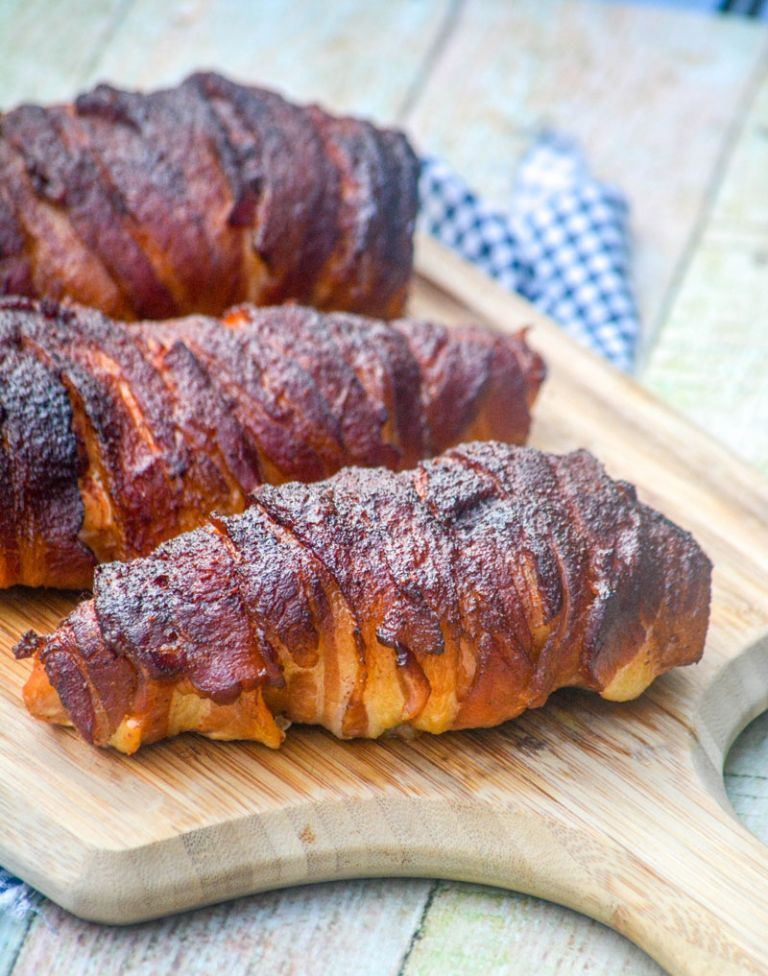 sweet heat bacon wrapped smoked chicken