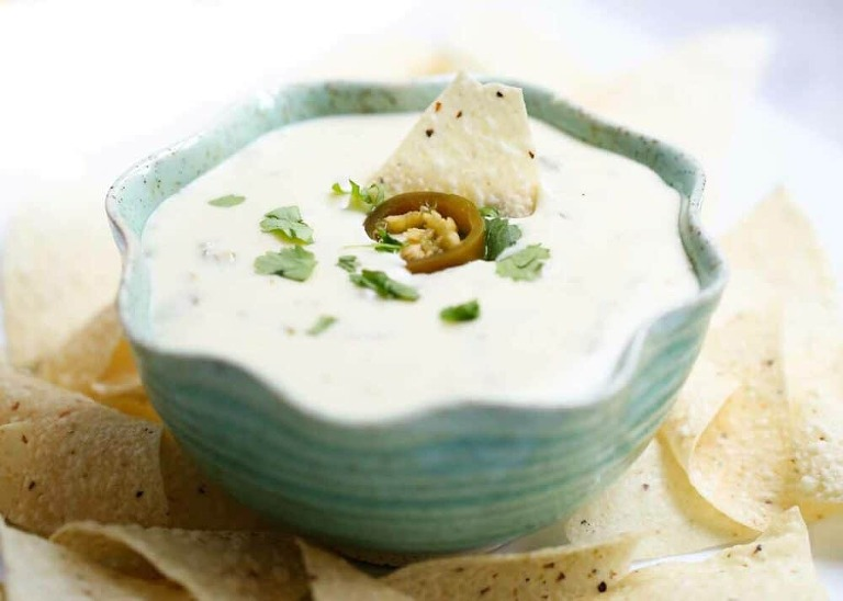 Queso blanco dip in the crockpot