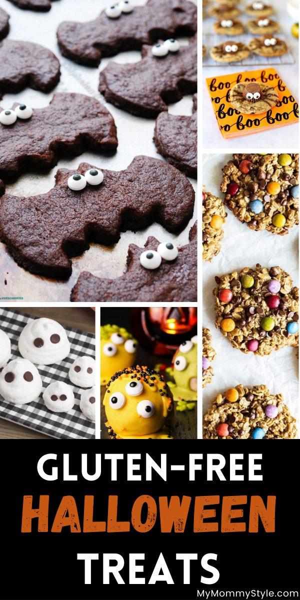 Collage of gluten free halloween treats