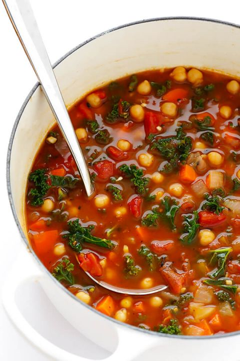 Heart Healthy Recipes of Moroccan Chickpea Soup with ladle.