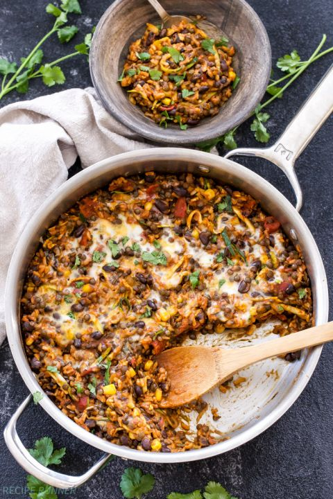 Heart Healthy Recipes  of Cheesy Mexican Lentils with beans and rice.